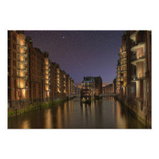 Hamburg memory city at night art photo