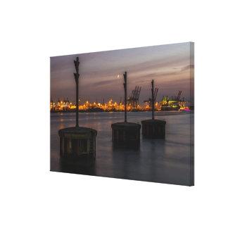 Hamburg port in the evening light canvas print