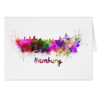 Hamburg skyline in watercolor card