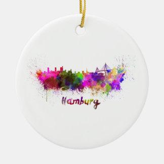 Hamburg skyline in watercolor ceramic ornament