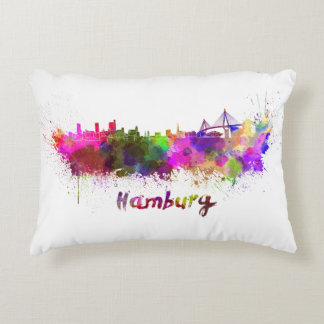 Hamburg skyline in watercolor decorative cushion