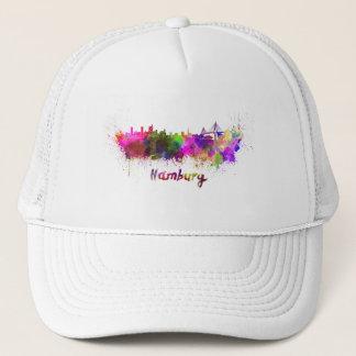 Hamburg skyline in watercolor trucker hat