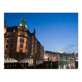 Hamburg Speicherstadt at Night Postcard
