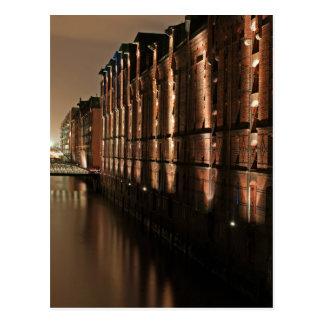 Hamburg Speicherstadt at Night Postcard