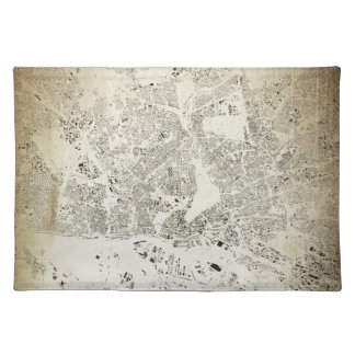 Hamburg Streets and Buildings Map Antic Vintage Placemat