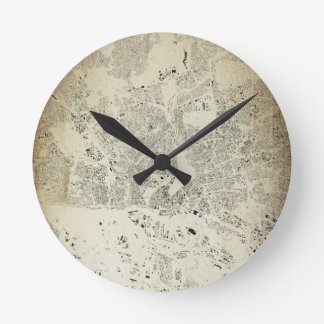 Hamburg Streets and Buildings Map Antic Vintage Round Clock