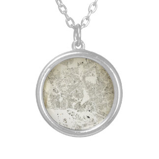 Hamburg Streets and Buildings Map Antic Vintage Silver Plated Necklace