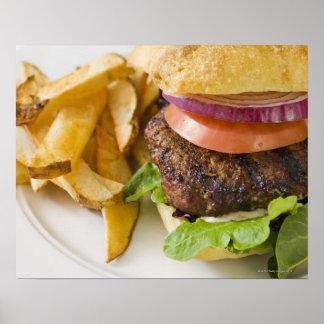 Hamburger and French Fries Poster
