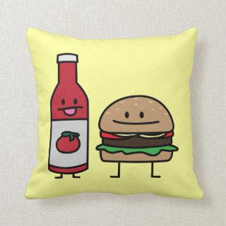 Hamburger and Ketchup fast food buddies bun patty Cushion