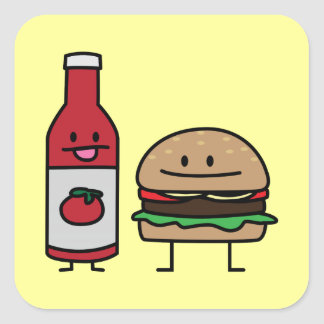 Hamburger and Ketchup fast food buddies bun patty Square Sticker