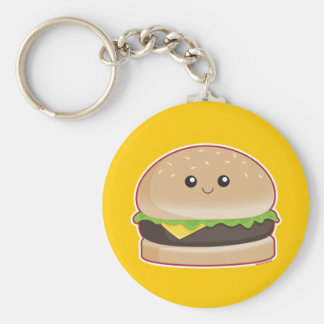 Hamburger Basic Round Button Key Ring