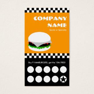 hamburger checkers punchcard business card