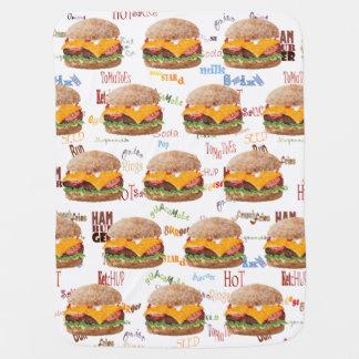 Hamburger Cheese Fast Food Diner BBQ Baby Blanket