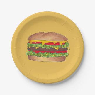 Hamburger Cheeseburger Fast Food Cheese Burger Paper Plate