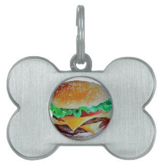 hamburger design, original painting pet ID tags