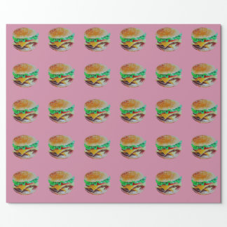 hamburger design, original painting wrapping paper