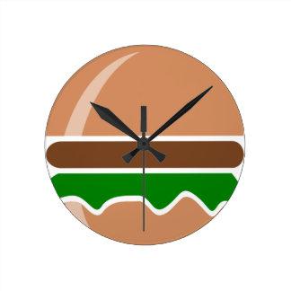Hamburger fast food a sandwich round clock