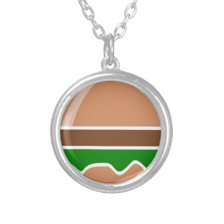 hamburger fast food a sandwich silver plated necklace