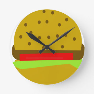 hamburger food fast food burger round clock