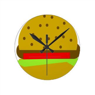 Hamburger food fast food burger round clock