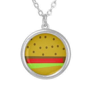 hamburger food fast food burger silver plated necklace