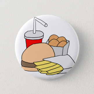 Hamburger, Fries, Chicken Nuggets and Soda 6 Cm Round Badge