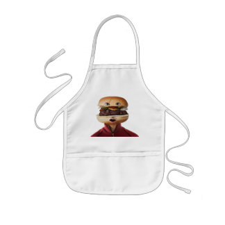 Hamburger Head Man over white Kids Apron