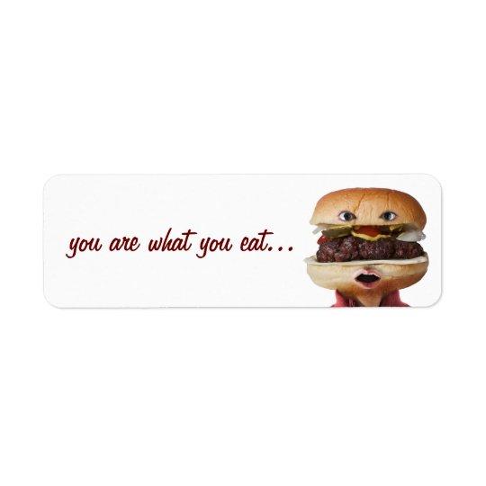 Hamburger Head Man over white Return Address Label