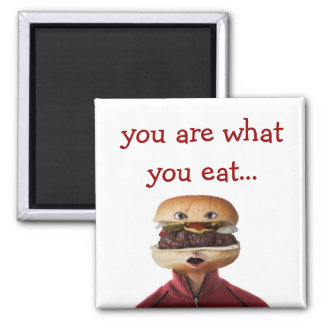 Hamburger Head Man over white Square Magnet