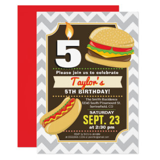 Hamburger & Hot Dog Birthday Party Invitation
