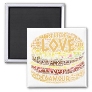 Hamburger illustrated with Love Word Magnet