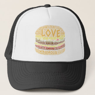 Hamburger illustrated with Love Word Trucker Hat