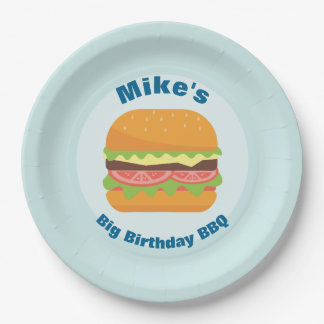 Hamburger Illustration Birthday BBQ 9 Inch Paper Plate