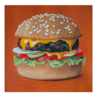 Hamburger Illustration kitchen poster