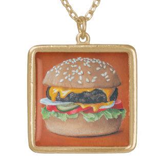 Hamburger Illustration necklace