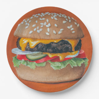 Hamburger Illustration paper plates