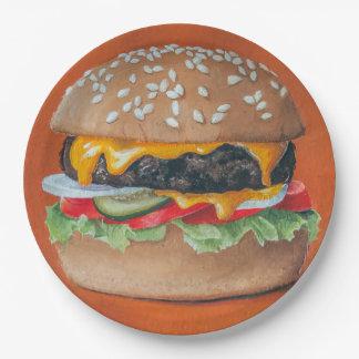 Hamburger Illustration paper plates 9 Inch Paper Plate