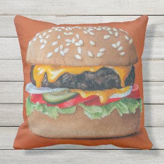 Hamburger Illustration throw pillows