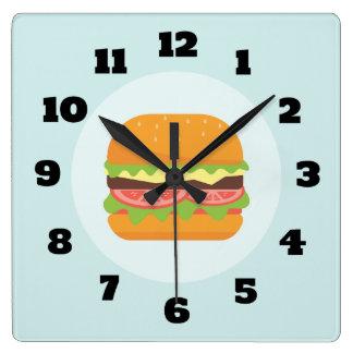 Hamburger Illustration with Tomato and Lettuce Clocks