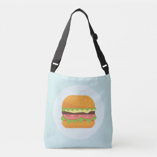 Hamburger Illustration with Tomato and Lettuce Crossbody Bag
