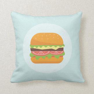 Hamburger Illustration with Tomato and Lettuce Cushion