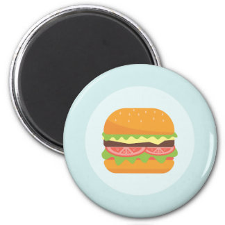 Hamburger Illustration with Tomato and Lettuce Magnet