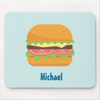 Hamburger Illustration with Tomato and Lettuce Mouse Pad