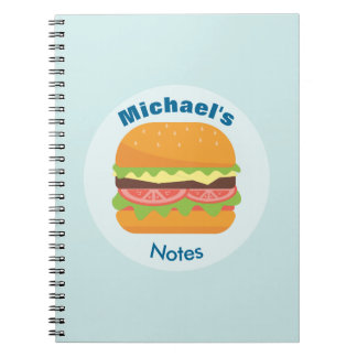 Hamburger Illustration with Tomato and Lettuce Note Book