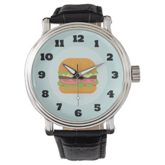Hamburger Illustration with Tomato and Lettuce Wrist Watches