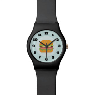 Hamburger Illustration with Tomato and Lettuce Wristwatches