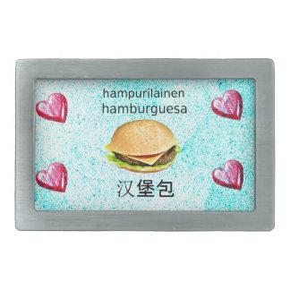 Hamburger In Finnish, Spanish, And Chinese Belt Buckles