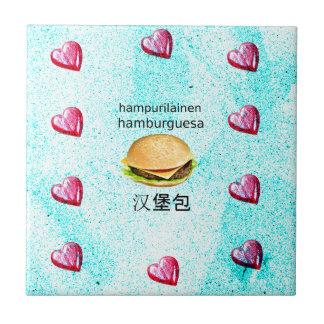 Hamburger In Finnish, Spanish, And Chinese Ceramic Tile