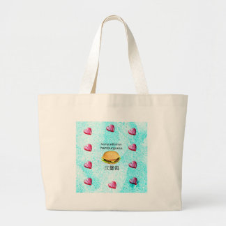 Hamburger In Finnish, Spanish, And Chinese Large Tote Bag