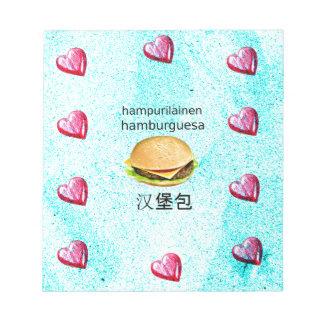 Hamburger In Finnish, Spanish, And Chinese Notepad